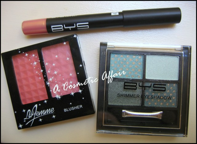 BYS, BYS eyeshadow, BYS pencil, BYS review, BYS haul, La Femme blushes, La Femme blushers