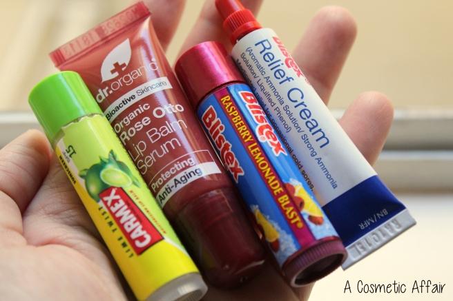 Carmex Blistex lip balm serum Dr Organic rose otto raspberrry lime relief